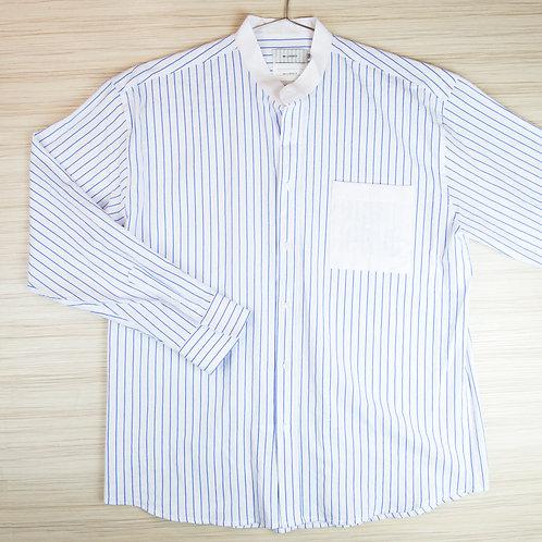 無領口袋拼接條紋休閒襯衫