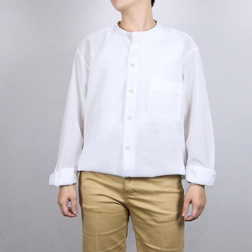 夏季舒適軟料微透無領9分袖休閒襯衫