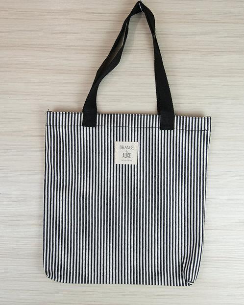 黑白條紋小清新帆布袋 書袋 環保袋