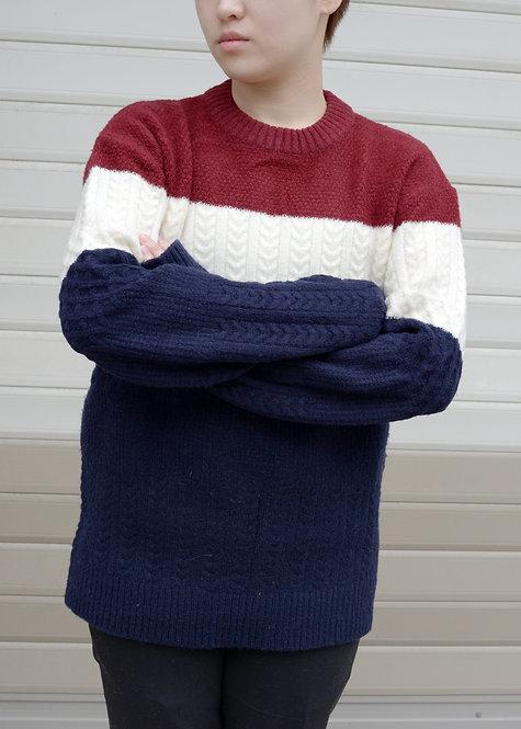 酒紅橫條針織毛衣