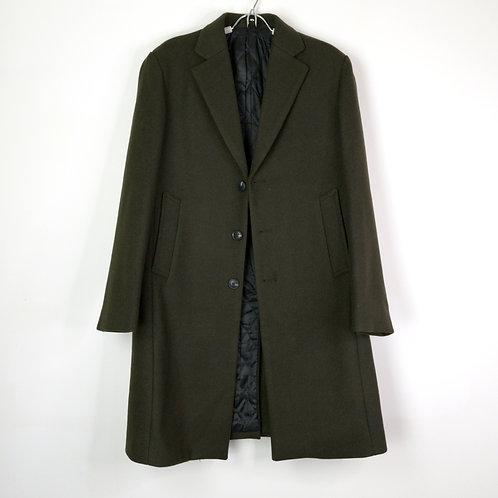羊毛混紡修身大衣-墨綠