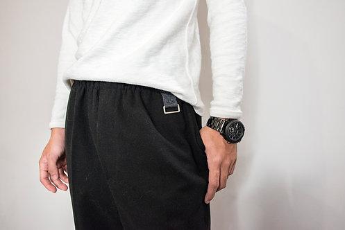 寬版吊環造型休閑褲-黑|絕版