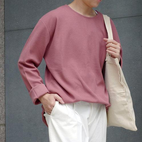 2色|袖口標籤素色圓領休閒上衣