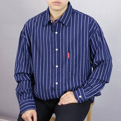 條紋休閒襯衫