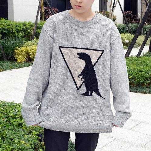 灰色恐龍針織毛衣