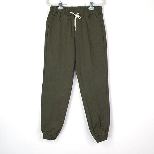 軍綠抽繩縮口工作褲