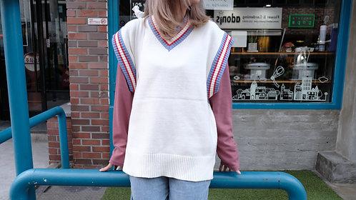 針織V領毛衣背心-米|絕版