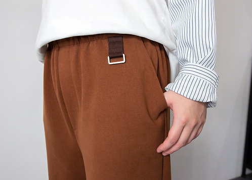 寬版吊環造型休閑褲-棕|絕版