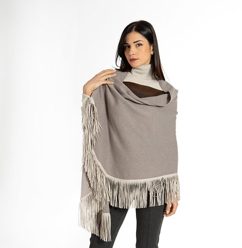 Rounded shape cape with alcantara fringes D12813