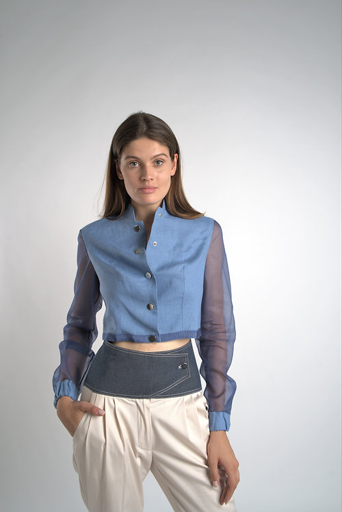 Linen Jacket with Silk Sleeves