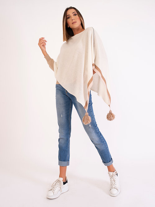 100% Cashmere Decorated Poncho D2151