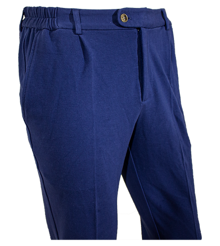 Blue Cotton Pique Pants