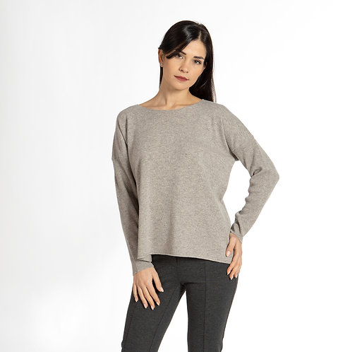 Boxy style sweater with sleeves in ribs D12700