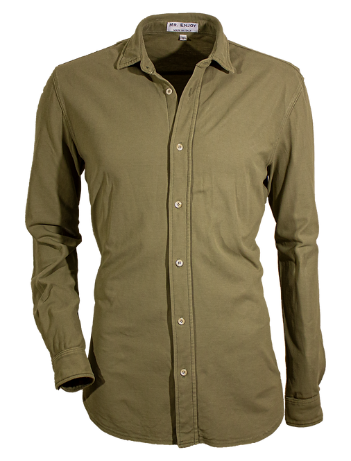 Olive Green Pique Cotton Shirt