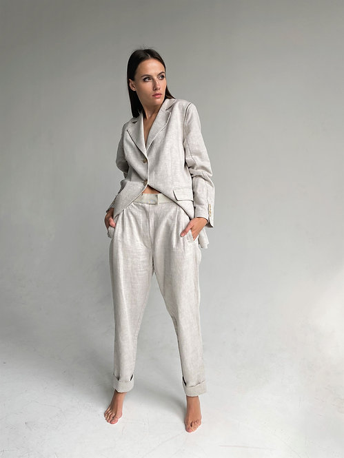 Linen suit Jacket with removable sleeves and pants