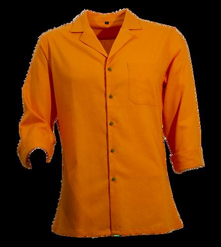 Orange Cuban Linen Shirt