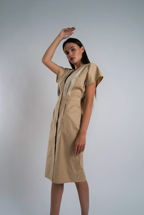 Cotton Dress with Silk Draped Top