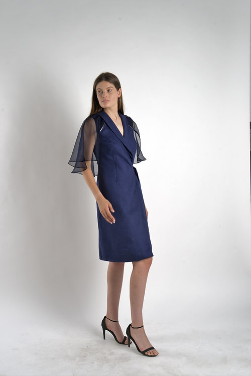 Linen Dress with Silk Removable Cape