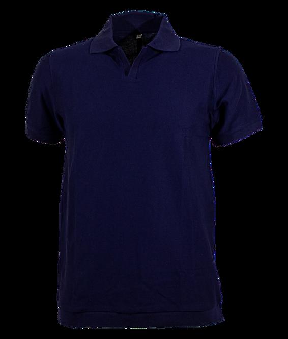 Night Blue Jacquard Cotton Polo Shirt