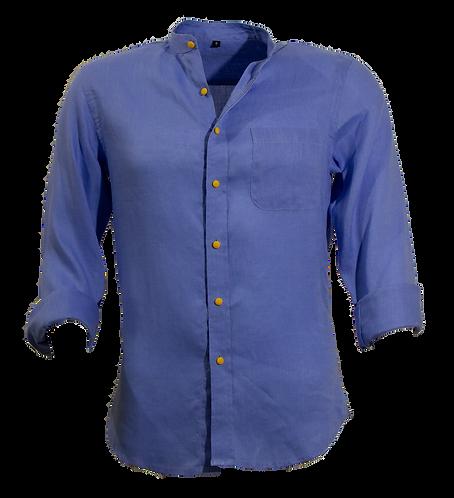Alpha Blue Korean Linen Shirt