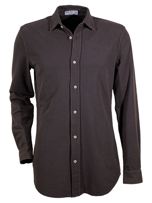 Anthracite Grey Pique Cotton Shirt