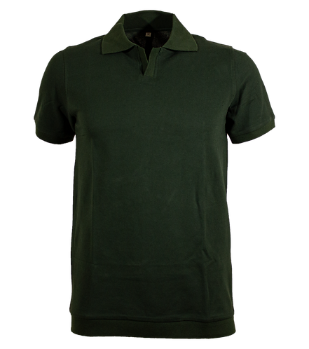 Forest Green Jacquard Cotton Polo Shirt