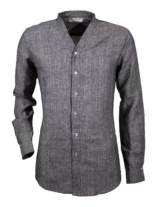 Striped Dark Blue V-neck Linen Shirt