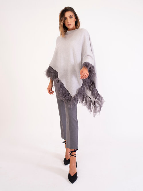 Ostrich Feathers Fringe Poncho D2145
