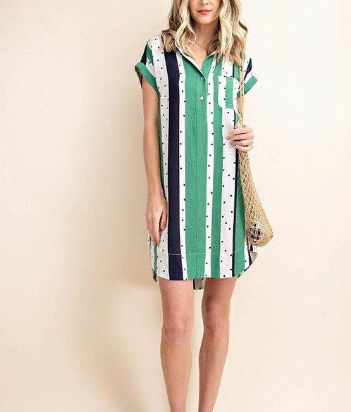 Stripes and dots Shirt Dress