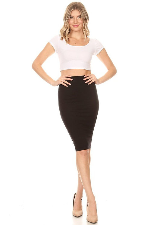 High rise black midi skirt