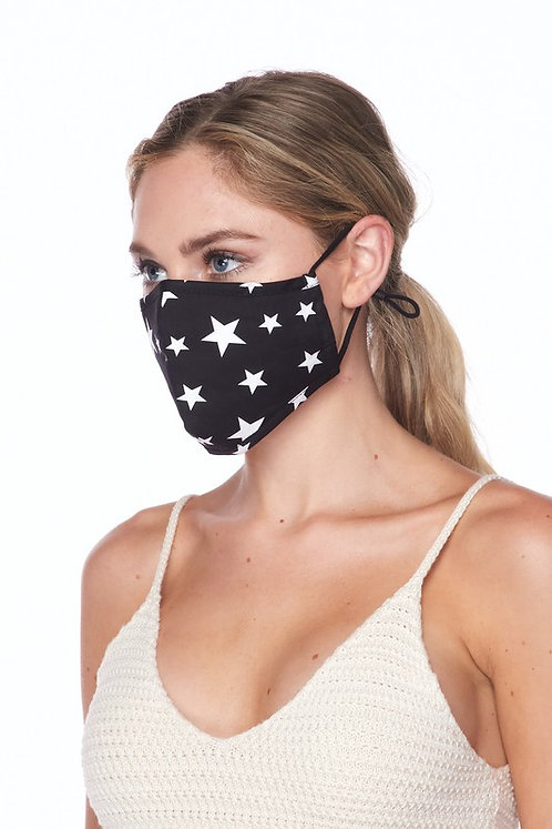 Star Face Mask - Black
