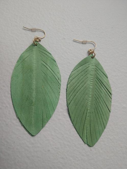 Leather Cut Leaf Drop Earrings