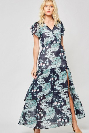 Floral butterfly sleeve maxi