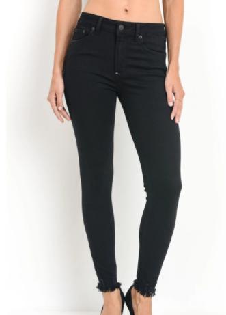 Skinny black with frayed hem JP950