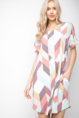 Geo print soft terry dress