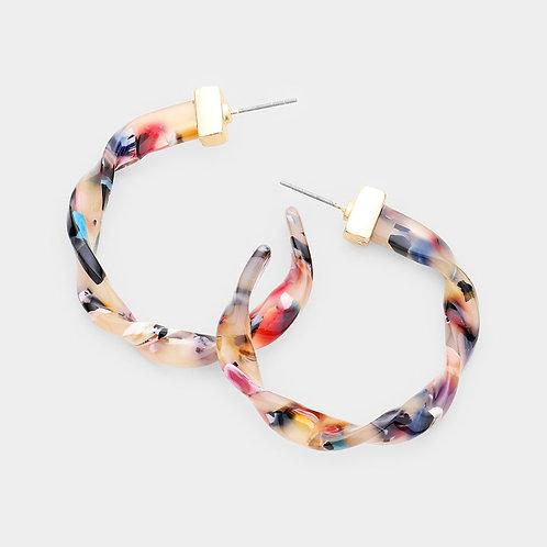 Celluloid Acetate Twist Hoop Earrings