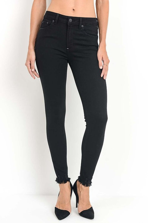 HIGH RISE SKINNY WITH BLACK FRAYED HEM - BLACK