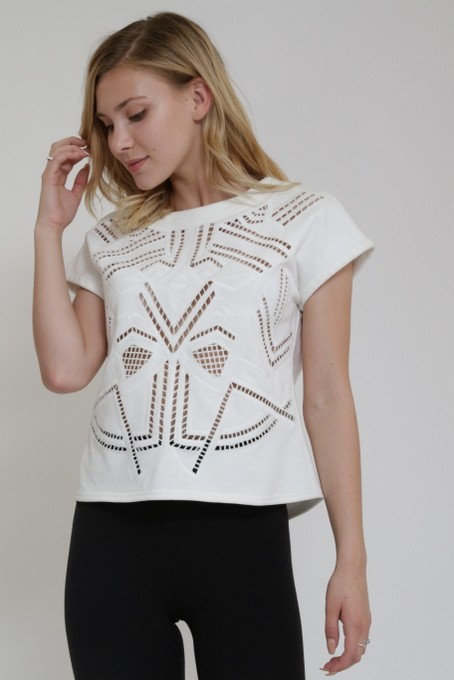 White embroidered top with beading