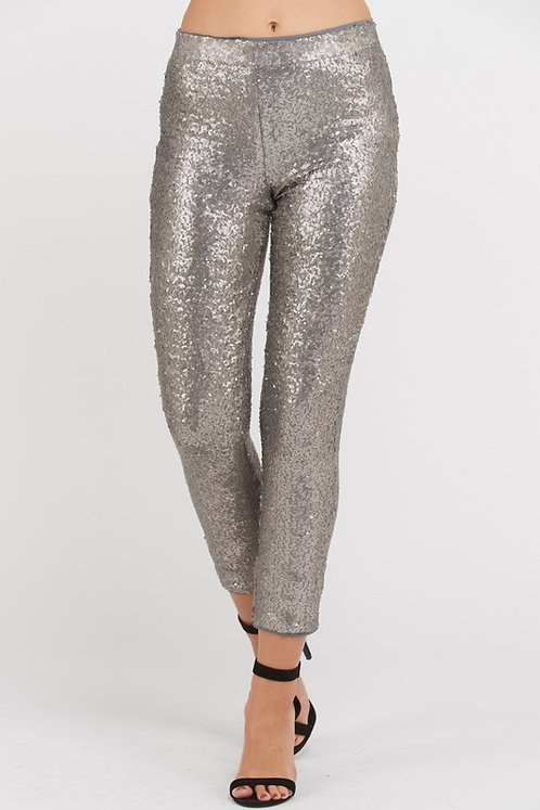 Silver Sequin Party Pants