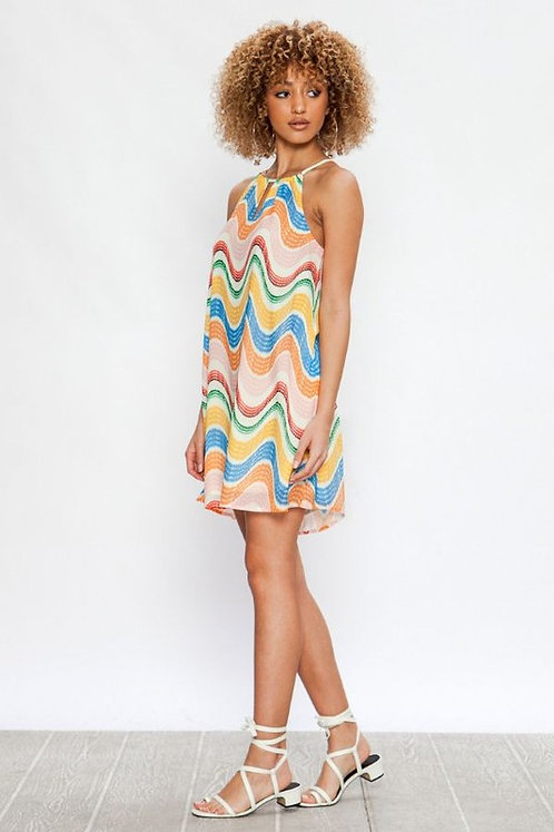 Waves in color dress- ivory