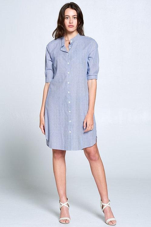 Blue Pin Shirt Dress