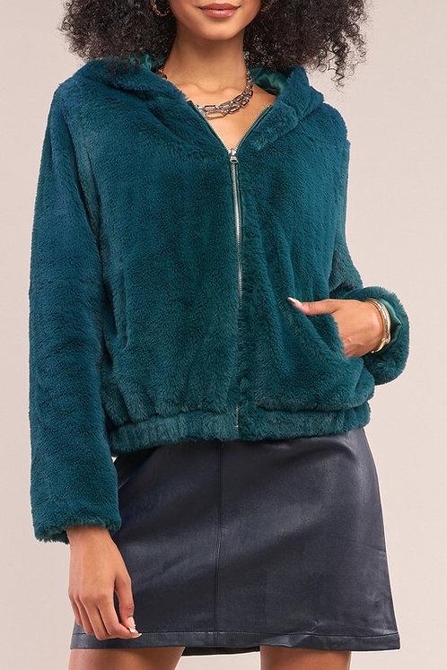 Green Dream - Faux Fur Bomber Hoodie