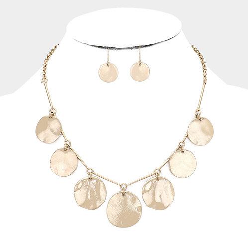 Hammered Metal Round drop Necklace set