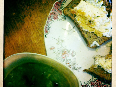 Lunch Of The Week: Mushroom Barley Soup With Grilled Feta Toast