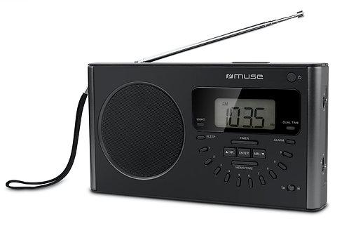 MUSE M-089R World Radio 4 Bande 40 Memorie 2 Fusi Orari Sveglia Pile / Corrente