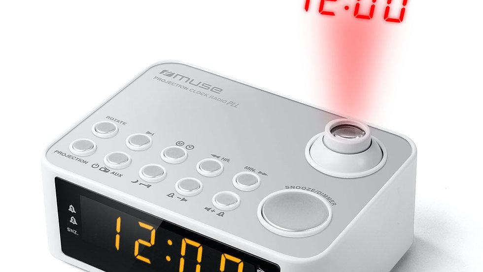 MUSE M-178 PW Radiosveglia Proiezione Ora Display LED Bianco Perla