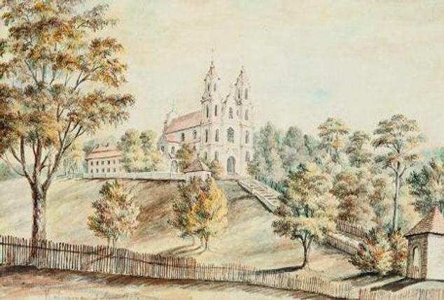 Widok wzgórza Kalwarii Wileńskiej, obraz Napoleona Ordy z 1877r. Źródło: Wikipedia