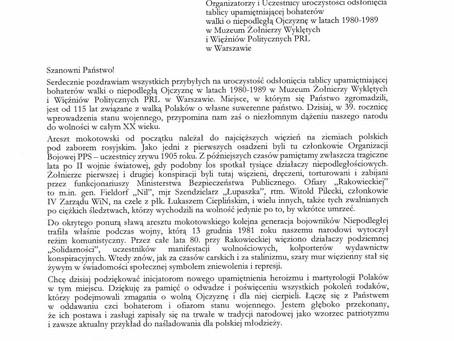 List od Prezydenta RP Andrzeja Dudy odczytany w naszym Muzeum podczas dzisiejszej uroczystości...