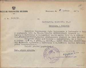 """Śmierć mjr Zygmunta Szendzielarza """"Łupaszki"""""""
