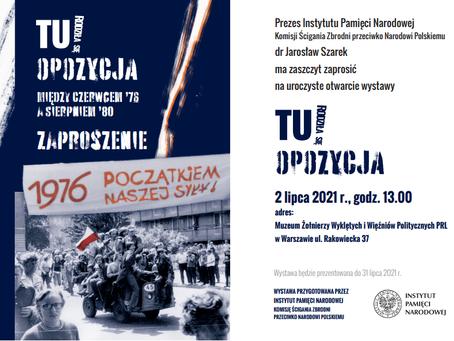 Zaproszenie na otwarcie wystawy o działalności opozycyjnej w PRL
